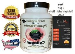 120 Capsules COLLAGEN HYDROLYSATE PLUS Vitamin C & FREE BIOT