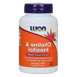 NOW Choline and Inositol 500mg, 100 Capsules