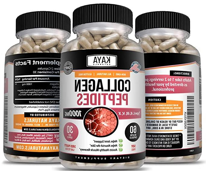 COLLAGEN PEPTIDES Types II, III, V, 1000 Anti-Aging 60 Capsules