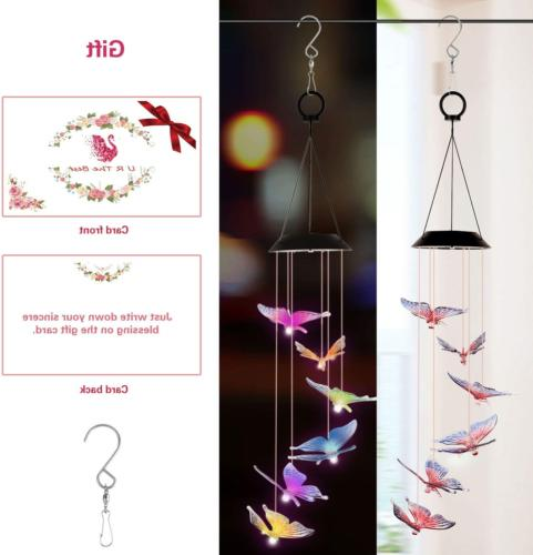 ColorfulLaVie Solar Wind Chimes,Butterfly Solar Wind Chime O